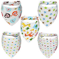 Itzy Bitsy Baby Bandana Drool Bibs Unisex 5-Pack Gift Set 100% Absorbent Cotton for Boys and Girls Cute Bandana Bib Perfect Baby Gifts - 100% Satisfaction Guarantee
