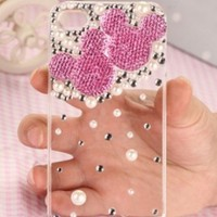 T & J HUT 3D Mickey Minnie Mouse Rhinestone Iphone 5 5th Generation 5G back Hard Case (AT&T, T-Mobile, Sprint, Verizon)