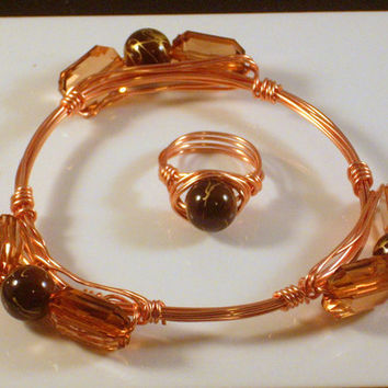 BLAZING - Topaz and Brown Marbleized Stone Wrapped in Copper Wire.  Bourbon and boweties Inspired Bangle Bracelet.