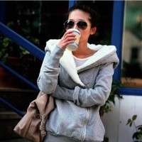 Concise Cross Collar Zipper Side Long Sleeves Fleece Coat For Women China Wholesale - Everbuying.com