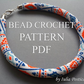 "Pattern for bead crochet necklace ""Ethnic Way"" / Bead crochet pattern / Bead crochet rope pattern / White, Blue, Orange / PATTERN ONLY"