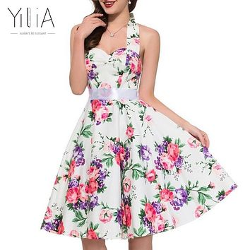 Yilia Sexy Summer A Line Party Dresses Women Vintage 50s 60s Skater Halter Patterns Ladies Dot White Floral Print Backless Dress