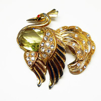 Vintage Rhinestone Swan Brooch - Goldtone Bird - Large Olivine Green Transparent Faceted Stone - Clear Pave Set Rhinestones - 1940s