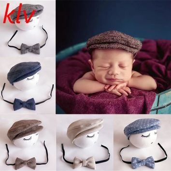 New 1Set Crochet Baby Toddler Hat And Tie Handmade Newborn Photography Props Baby Cap Beanie Infant Bow Tie Set