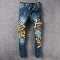 free shipping homme Jeans Pantalon 2018  Skinny Jeans Men Kanye West Feet Ripped Jeans Man Joggers Trousers Casual Calca Jeans