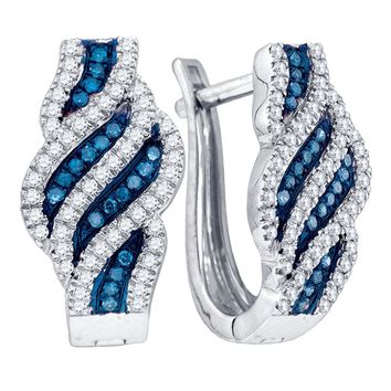 10kt White Gold Womens Round Blue Colored Diamond Spiral Stripe Hoop Earrings 1/3 Cttw
