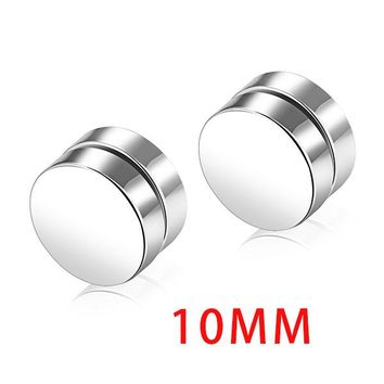 GAGAFEEL Magnetic Stud Earrings Men Earring Jewelry Stainless Steel Authentic Classic Round Magnet Gold Color For Lover Male
