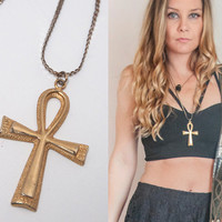 1970s Gold Ankh Celtic Cross Necklace  | Hippie Boho Chic Vintage Ankh Pendant | Gypsy Egyptian Revival Religious Jewelry Gold Cross Pendant
