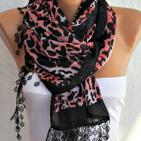 ON SALE -Leopard  Scarf -  Cotton Scarf  Cowl with  Lace Edge