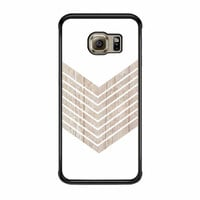White Geometric Minimalist With Wood Grain Samsung Galaxy S6 Edge Case