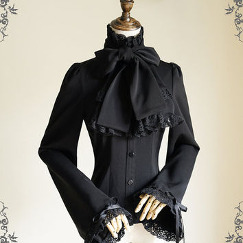 Pirate Gothic Ouji Prince Stand Up Collar Blouse Cravat & Jabot*FREE EXPRESS SHIPPING