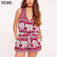 YOINS Summer Fashion Red Elephant Pattern Women Jumpsuit Romper Casual V-neck Sleeveless Drawstring Waist Beach Party Playsuit