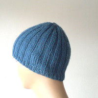 Knitted mens beanie, beret, hat, in dark blue, gift for him, gift for fathers, Winter 2013