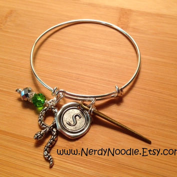 Harry Potter inspired Hogwarts Houses Adjustable Bangle Charm Bracelet - Gryffindor, Hufflepuff, Ravenclaw, Slytherin