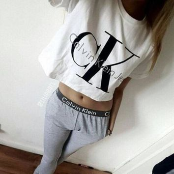 On Sale Calvin Klein Jeans Letter and Logo like Print Short Bare Midriff Sleeve Women Casual Sweatshirt Shirt Top Blouse T-Shirt and Sweatpants Set 2 pc