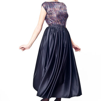 High Waist Black Light Satin Maxi Skirt