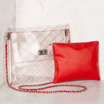 Clearly Quilted Red Transparent Cross Body Bag