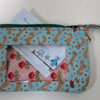 ID Wallet, Coin Purse, Zipper Closure, Made With Critter Patch Organic Foxes Aqua