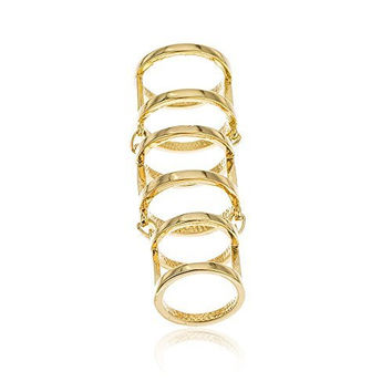 Goldtone Joint Hinged Knuckle Armor Full Finger Ring (8)