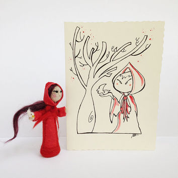 Christmas gift set, needle felted artdoll and hand painted card in collaboration with Mammabook