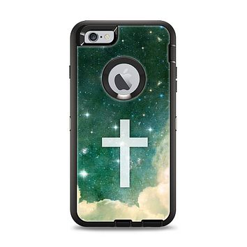 The Vector White Cross v2 over Cloudy Abstract Green Nebula Apple iPhone 6 Plus Otterbox Defender Case Skin Set