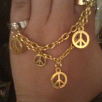 Bohemian Gold Peace Sign Chain Ring