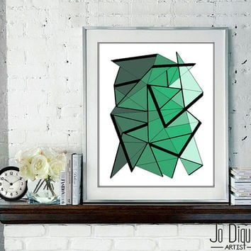 Abstract art print. Geometric print from original geometric painting with green, aqua green accents. Green print. 8.5x11""
