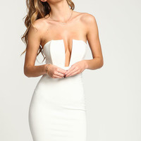 IVORY DEEP PLUNGED BODYCON DRESS