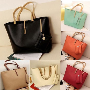 Women PU Leather Tote Shoulder Bags Hobo Handbags Satchel Messenger bag Purse [10198329159]