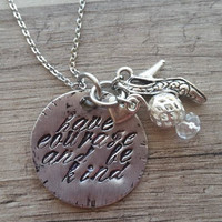 "New Cinderella Inspired,""Have Courage and be Kind "" Necklace"