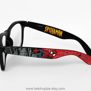 Spiderman glasses - Wayfarer style glasses Spiderman comic unique hand painted - red - black