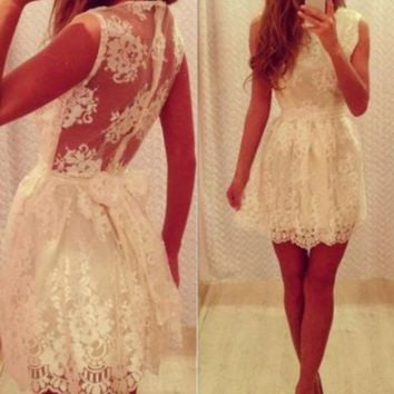 FASHION WHITE LACE BOW DRESS