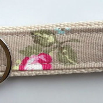 Handmade key ring made with rosebud fabric and webbing. Fabric key fob. Ideal gift.