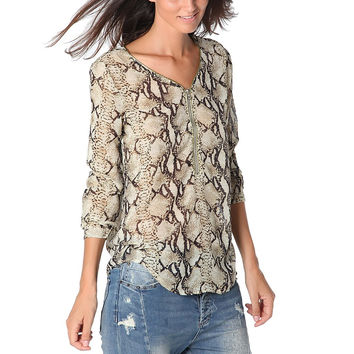 BROWN ANIMAL PRINT BLOUSE WITH ZIP TRIM TO FRONT BY Q2 (Spain)