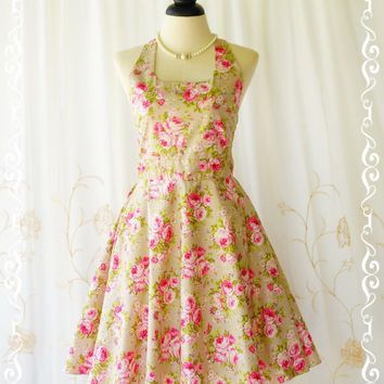 My Lady IV - Spring Summer Sundress Floral Halter Party Dress Pink Floral On Pale Olive Green Dress Party Tea Dress Bridesmaid Dress XS-XL