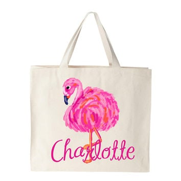 Pink Flamingo Natural Canvas Bag
