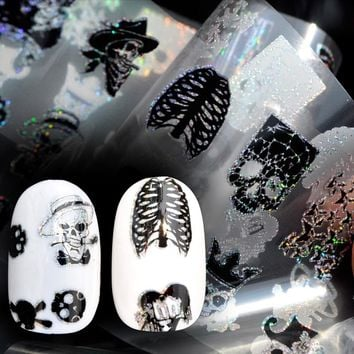 Nail Foil 100*4cm Skull Head Cute Design Punk Style Zombie Stickers Glue Transfer Nail Design Halloween Decoration