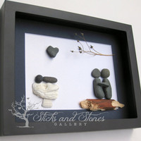 Modern New Baby Gift - Personalized New Baby Gifts- Baby Shower Gift - Modern Nursey Art - Personalized Pebble Art - Baby Shower Gift