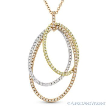0.33ct Round Diamond Eternity Circle Pendant & Chain Necklace in 14k Yellow Gold