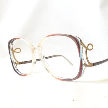 vintage 1970's womens sophia lauren eyeglasses pink plastic frame zyloware gold metal curves prescription lenses mid century sunglasses NOS