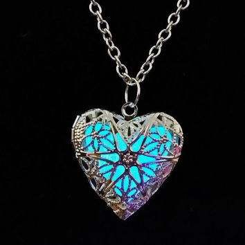 Glow in the Dark Blue Heart Pendant Necklace by KnitPopShop