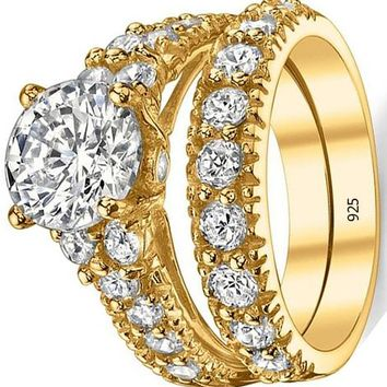 2.50 Carats Gold Tone Over Solid Sterling Silver 925 Engagement Ring Set Bridal Rings with 2 Carat Round Cut Cubic Zirconia Center Stone