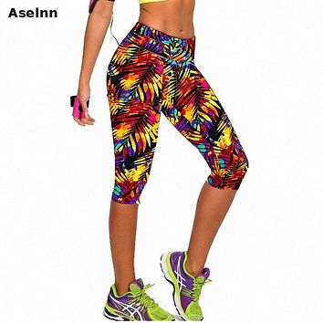 Aselnn Brand New Capri Women Leggings High Waisted Floral Printing Pants Lady's Fitness Workout Casual Pants