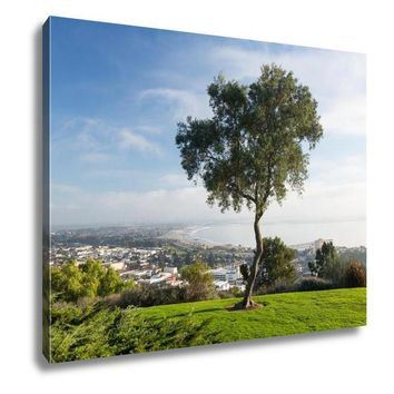 Gallery Wrapped Canvas, Panorama Of Ventura From Grant Park