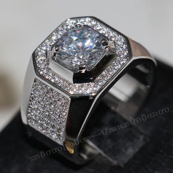 Victoria Wieck Solitaire Men 8mm Topaz simulated diamond 14KT White Gold Filled Engagement Wedding Band Ring Sz 7-13