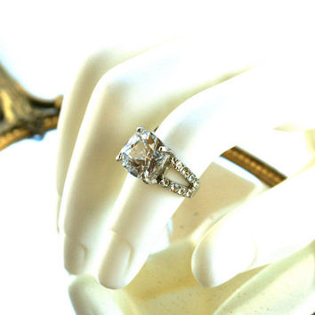Square Rhinestone Ring Cushion Cut