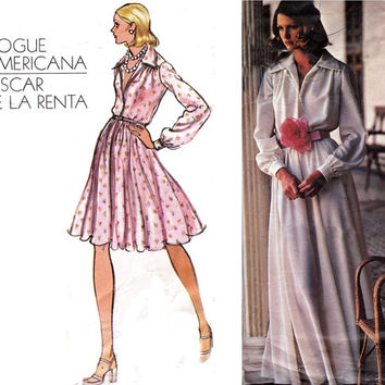 Oscar De La Renta 1970s Evening Dress with Petticoat Vogue Americana Vintage Sewing Pattern 2880 Size 14 Bust 36