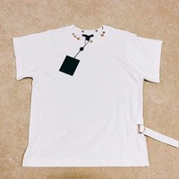 """Louis Vuitton"" Rivet Round-neck Simple White T-shirt"