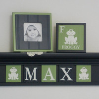 """Frog Nursery Decor, Froggy Art Wall Decor, Personalized Baby Boy Nursery Gift, 24"""" NAVY Shelf with Navy and Green Plaques for MAX - Froggy's"""