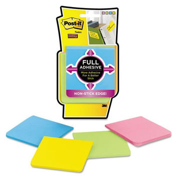 Post-It Notes Super Sticky F3304SSAU Full Adhesive Notes, 3 x 3, Assorted Bright Colors, 4-Pack